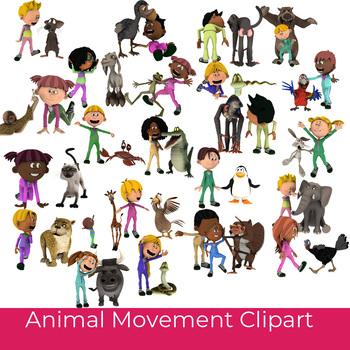 Animal Movement Clipart For Brain Break and Movement Break Activities, 25  Color.