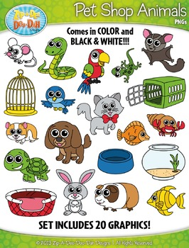 Pet Shop Animals Clipart {Zip.