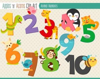 Animal Numbers Clip Art.