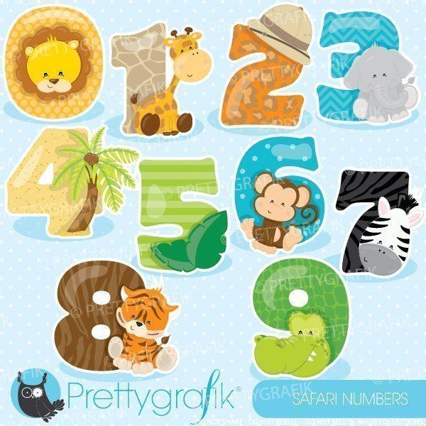 Safari animal numbers clipart.