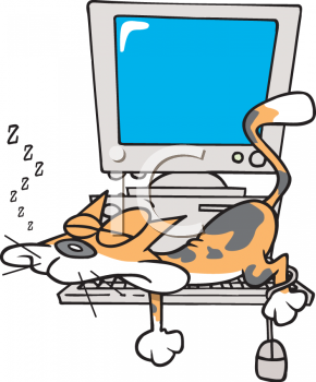 Cartoon Clipart Picture Of A Cat Asleep On A Computer.