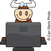 Bull cow computer keyboard monitor animal program typing.