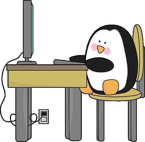 Penguin Using a Computer.