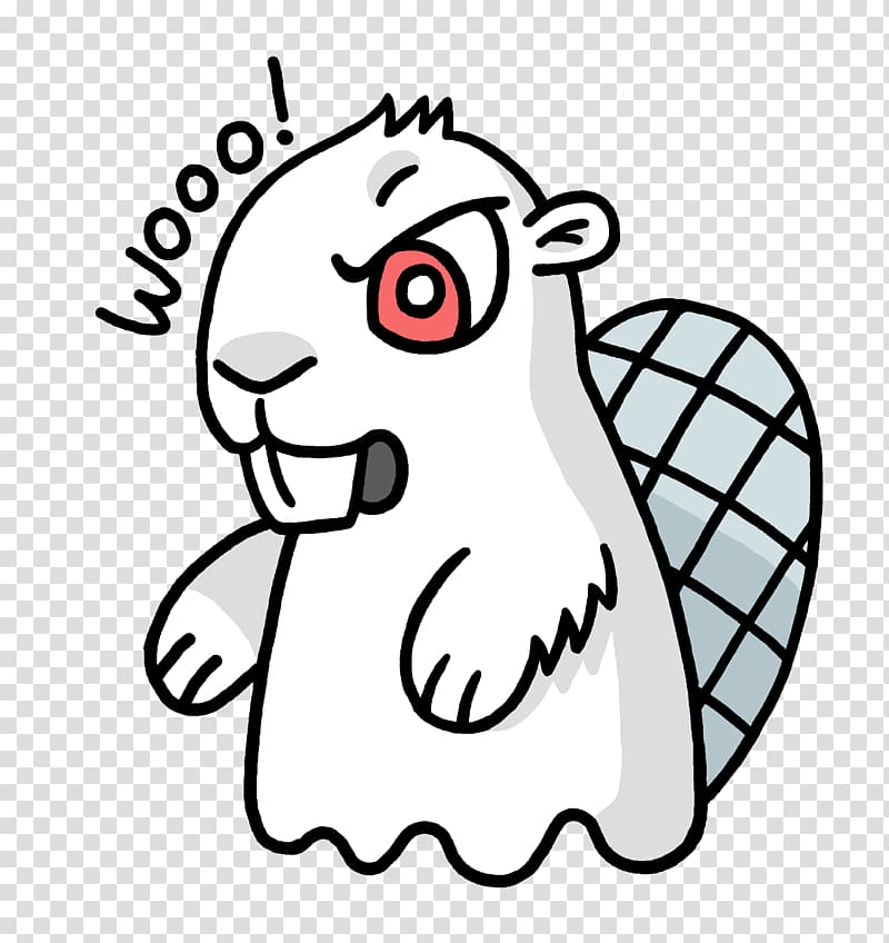 White animal with wooo! text overlay, Ghost Adsy transparent.