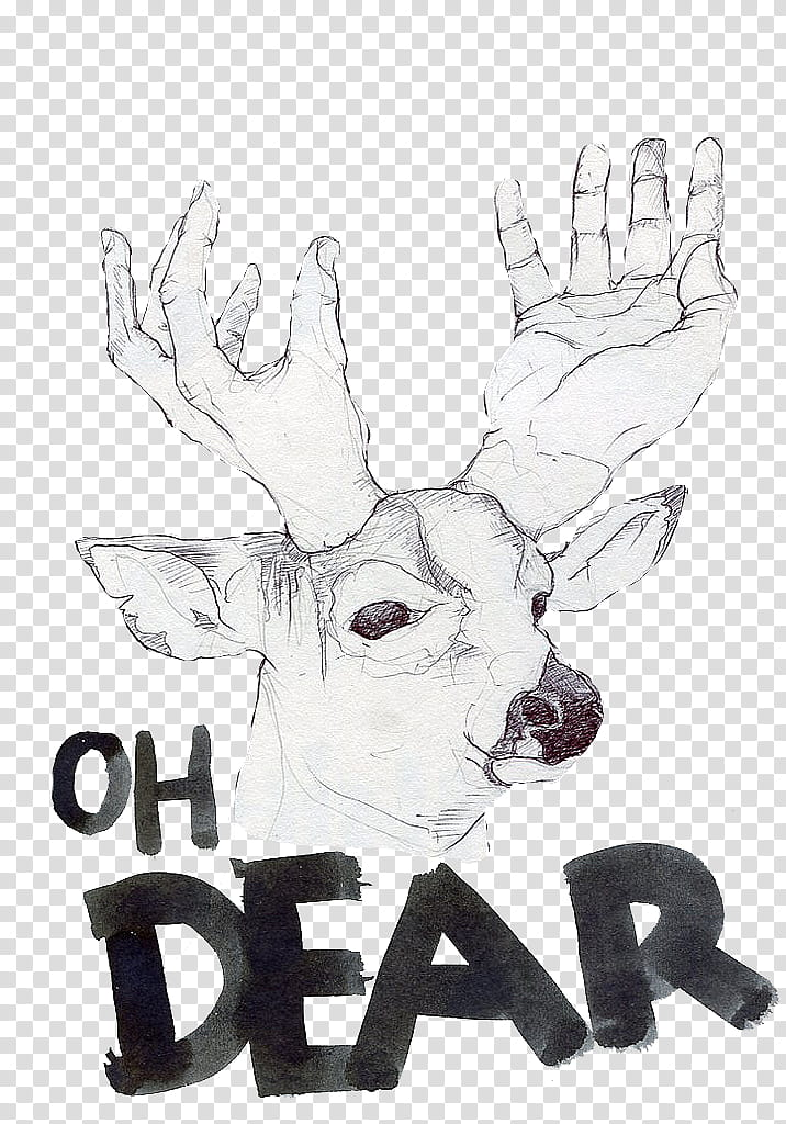Crazy Animals s, dear sketch with text overlay transparent.
