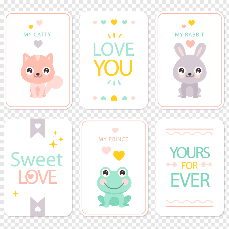 White background with love you text overlay, cute animal.