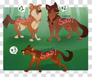 Dhole Adoptables SOLD, brown animal illustration with text.
