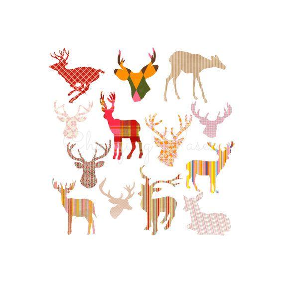 Instant Digital Download Cambodian Deer Head Silhouettes.