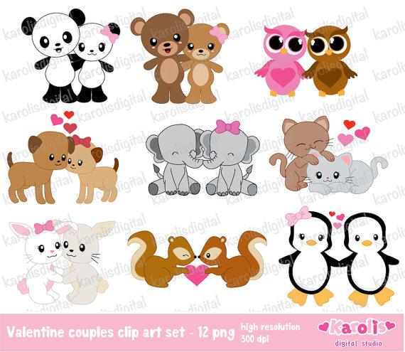 Clipart Cute Animal Pairs.