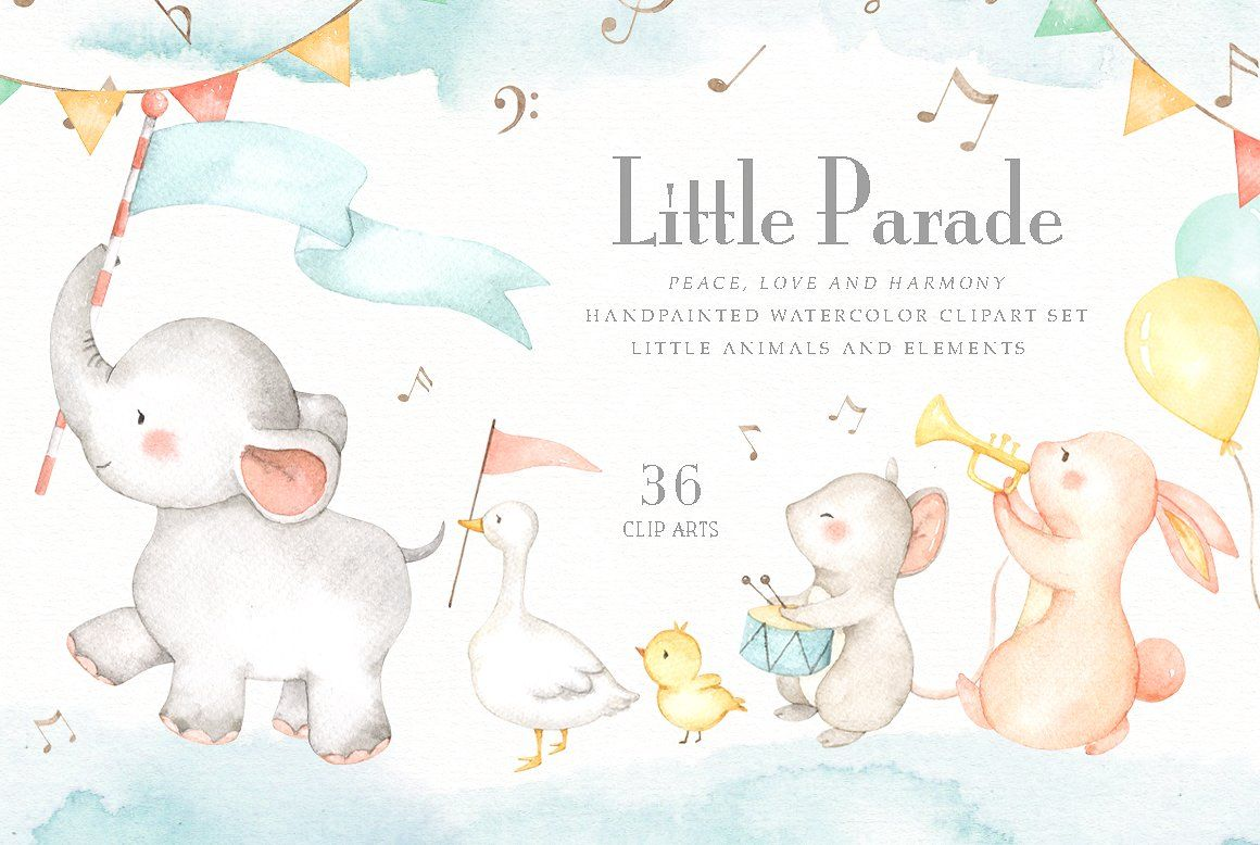 Little Parade Watercolor Clipart #quotes#cards#logo#posters.