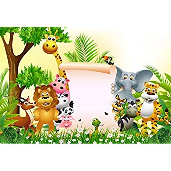 LFEEY 7x5ft Custom Safari Park Photo Background Kids 1st 2nd 3rd Birthday  Party Baby Shower Decor Wallpaper Cartoon Zoo Forest Jungle Wild Animals.