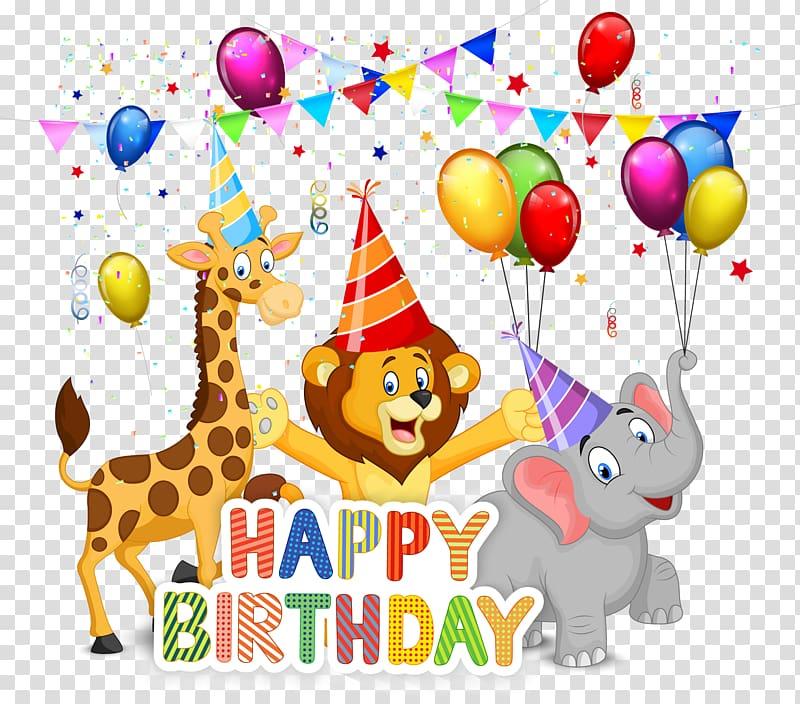 Happy birthday animals illustration, happy Birthday.