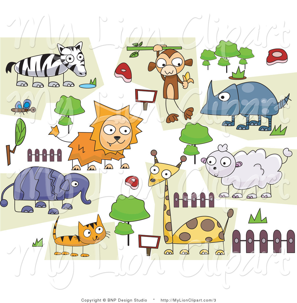 Vector Lion Clipart of a Path Around Doodled Zoo Animals by BNP.