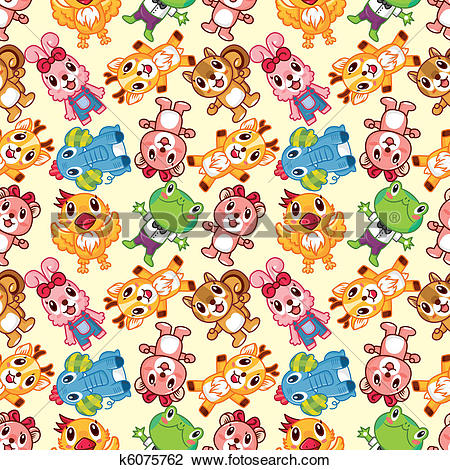 Clipart of seamless animal pattern k6075762.