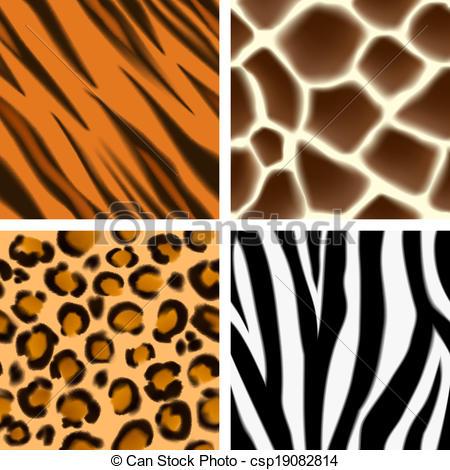 Vector Clip Art of Animal print seamless patterns.