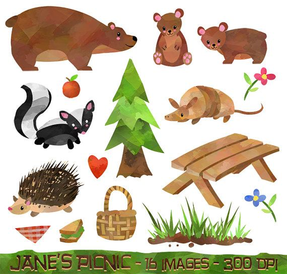 Watercolor Forest Animals Picnic Clipart.