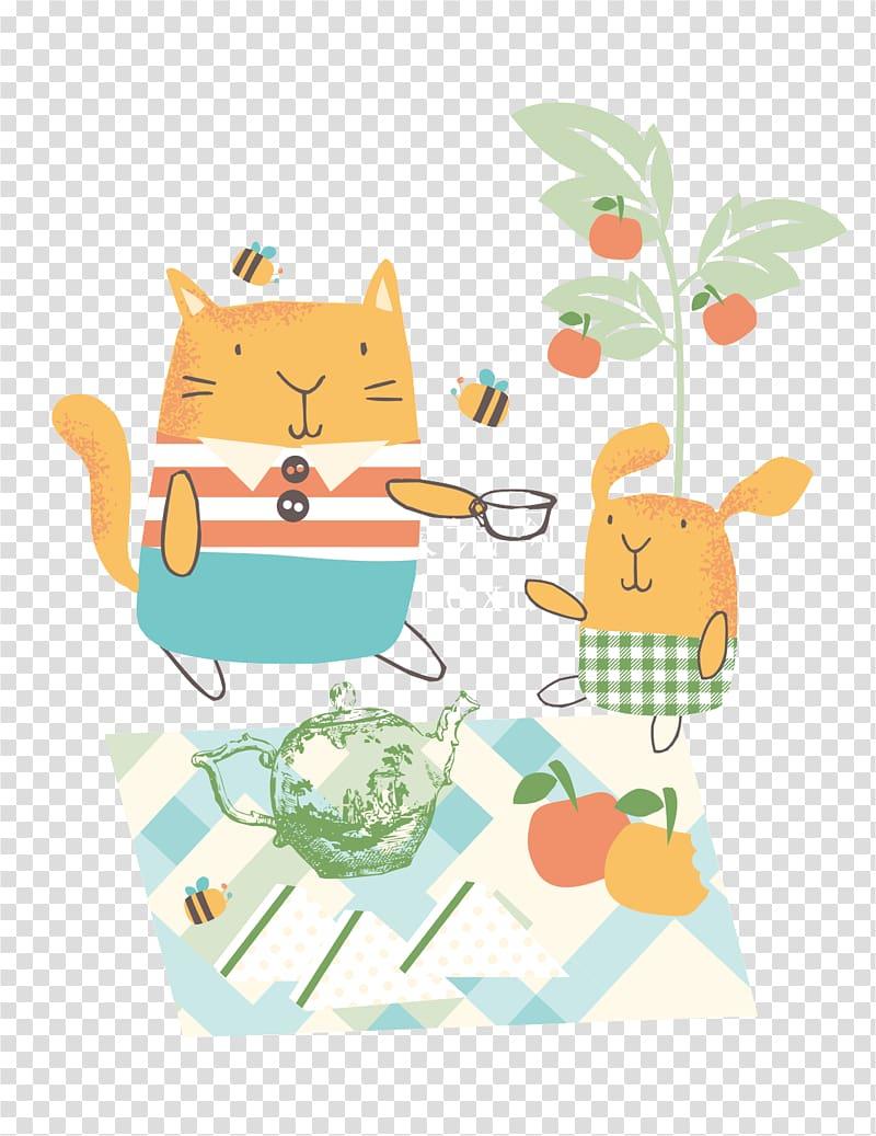 Cartoon Picnic Illustration, Picnic Cartoon Cat Rabbit.