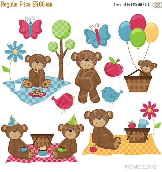 Picnic Bears Cute Digital Clipart.
