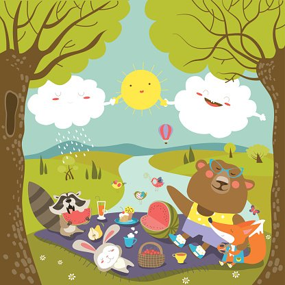 Animals at picnic in forest Clipart Image.