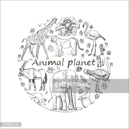 Hand drawn Save animal planet Clipart Image.
