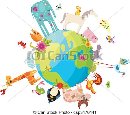 Vector Clip Art of animal planet.