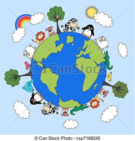 Clipart Vector of animal planet csp7168245.