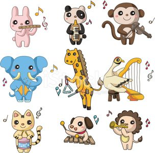 cartoon animal play music icon Clipart Image.