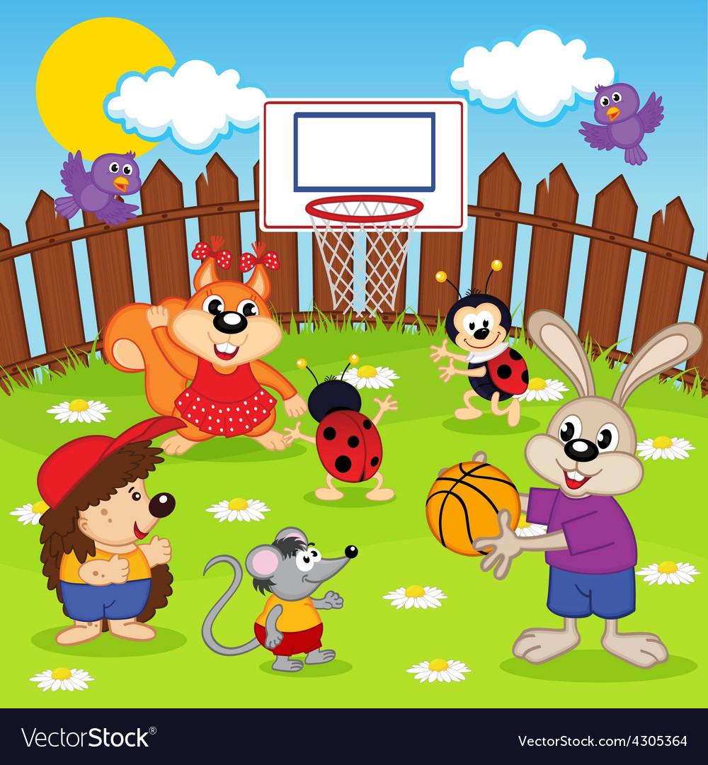 Animals play basketball.