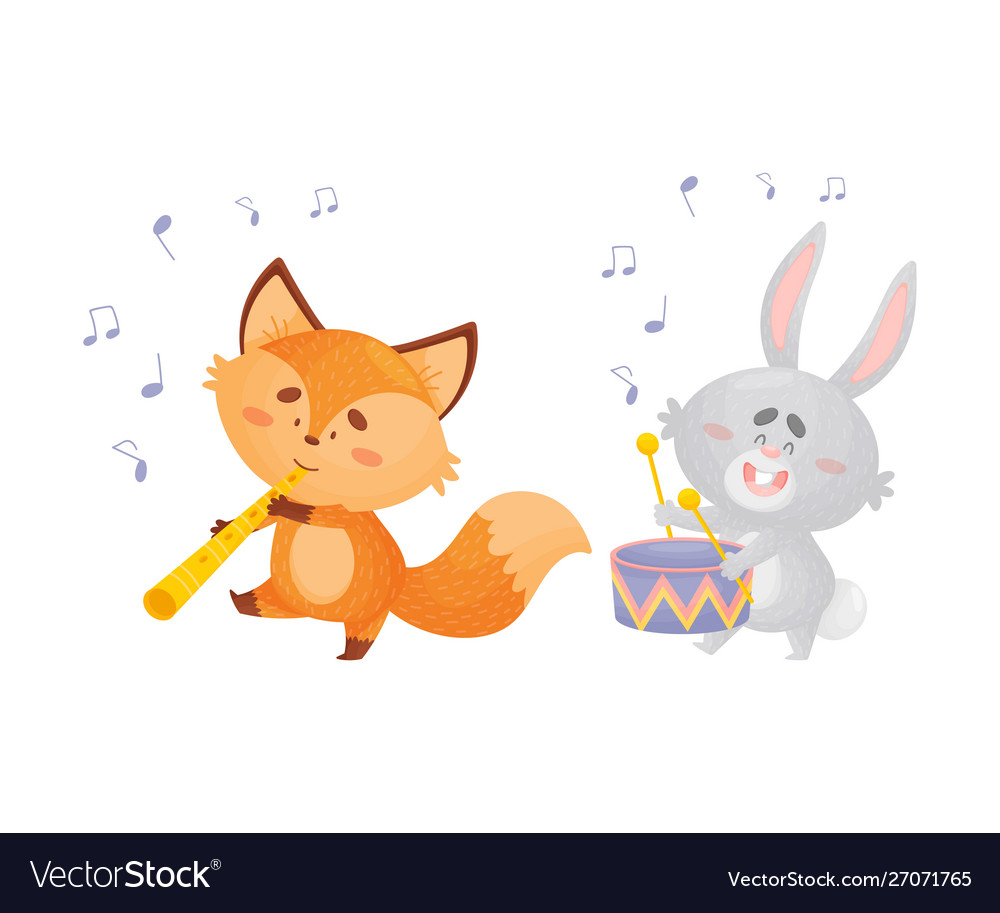 Cartoon foxes and a hare play musical instruments.