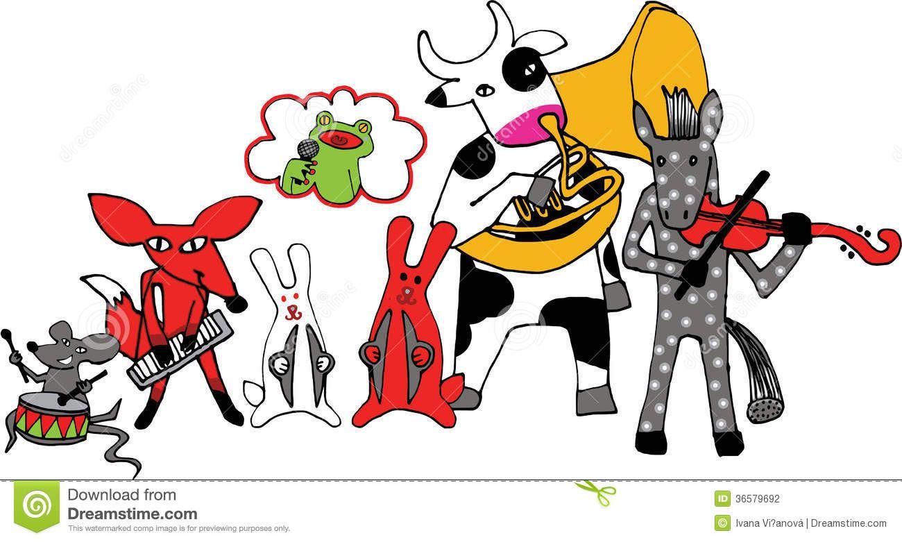 vintage Animal Playing Music illustration.