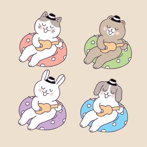 Cartoon cute animals playing guitar and life ring vector.