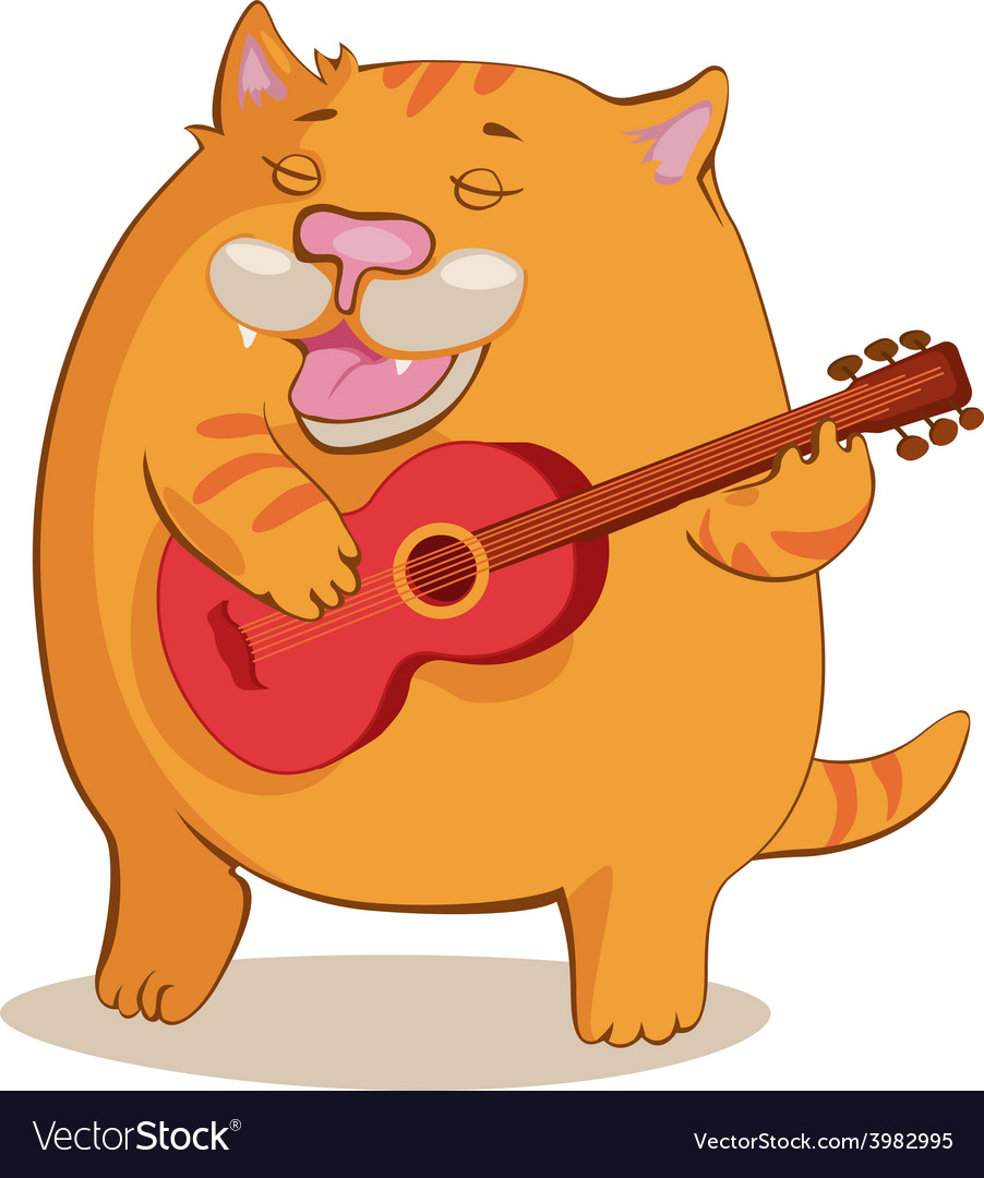 Red cat playing guitar.