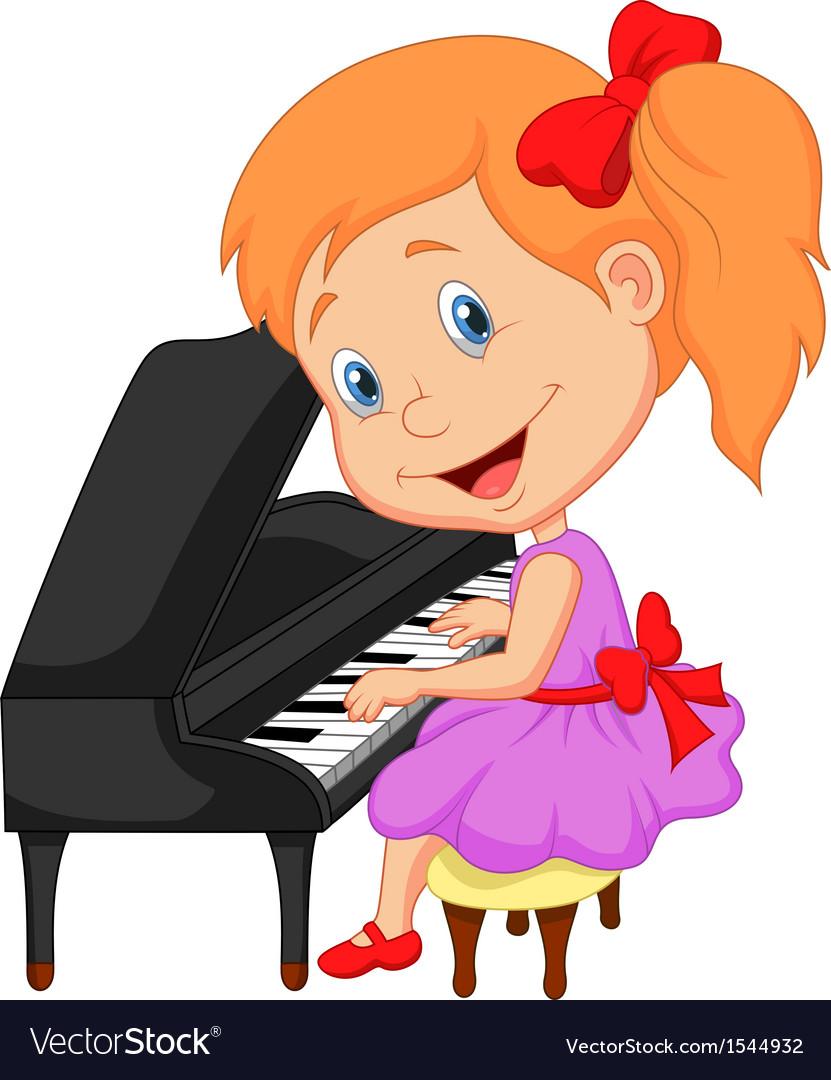 Cute little girl cartoon playing piano.