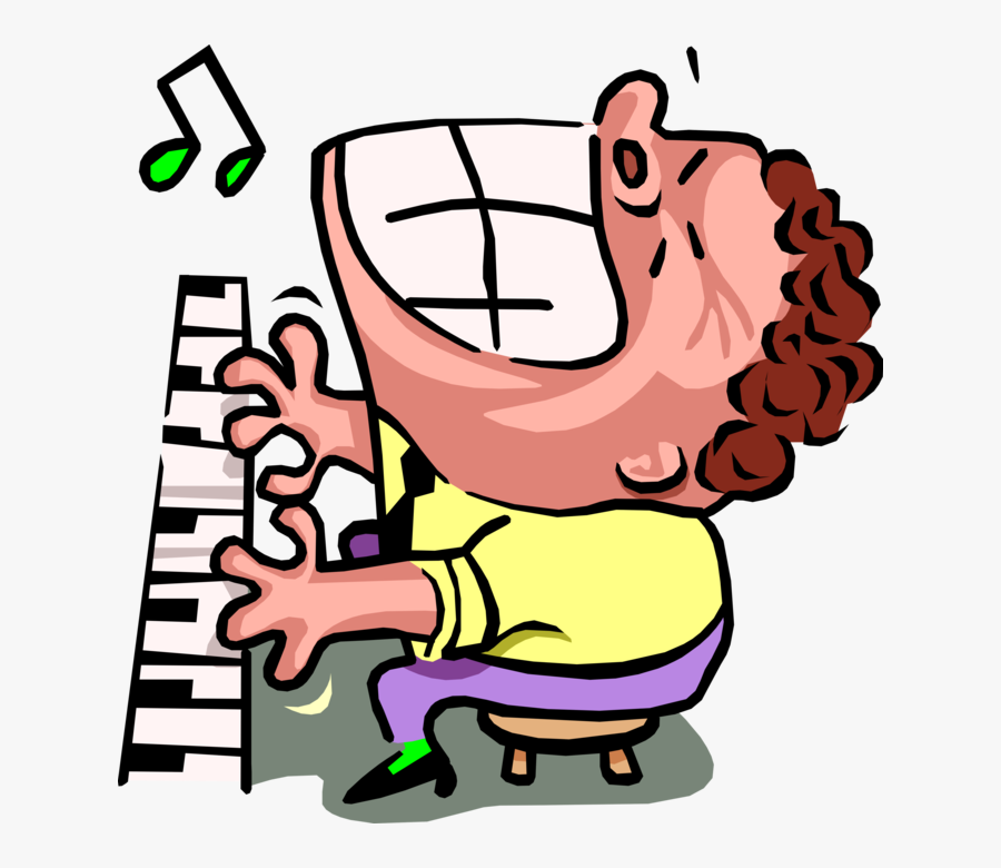 Transparent Man Playing Piano Clipart.