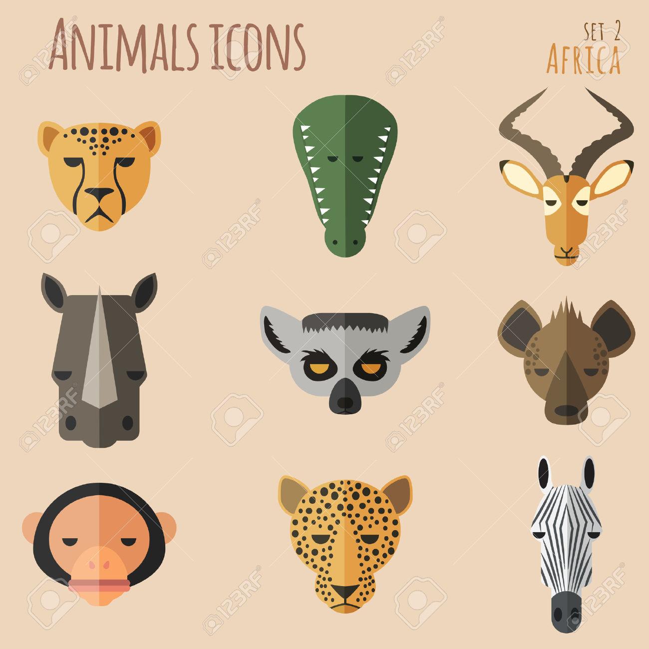 Animal Portrait Set With Flat Design Vector Illustration Royalty.