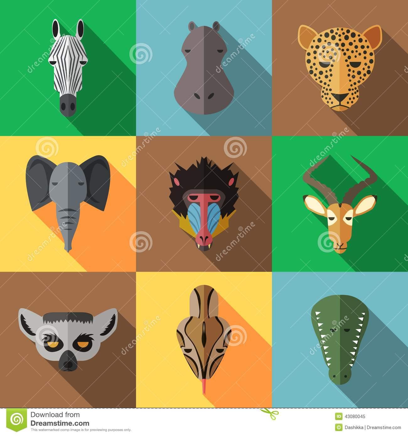 Animal Portrait Set With Flat Design Stock Vector.