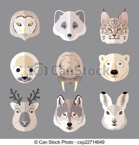 EPS Vector of Animal portrait flat icon set.