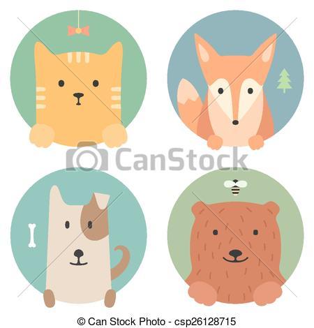 Vector Clip Art of Animal set. Portrait in flat graphics. Cat, fox.