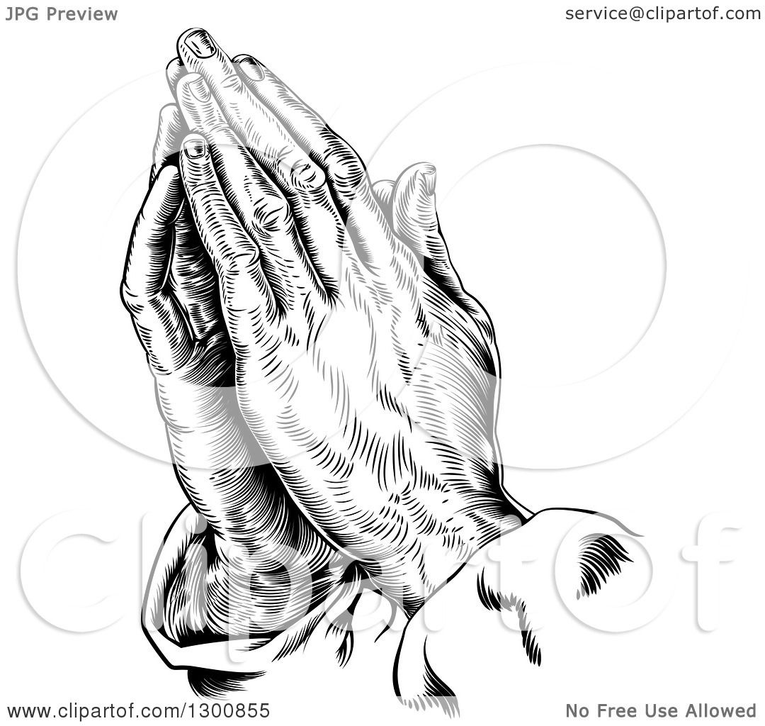 Clipart of Black and White Engraved Praying Hands.