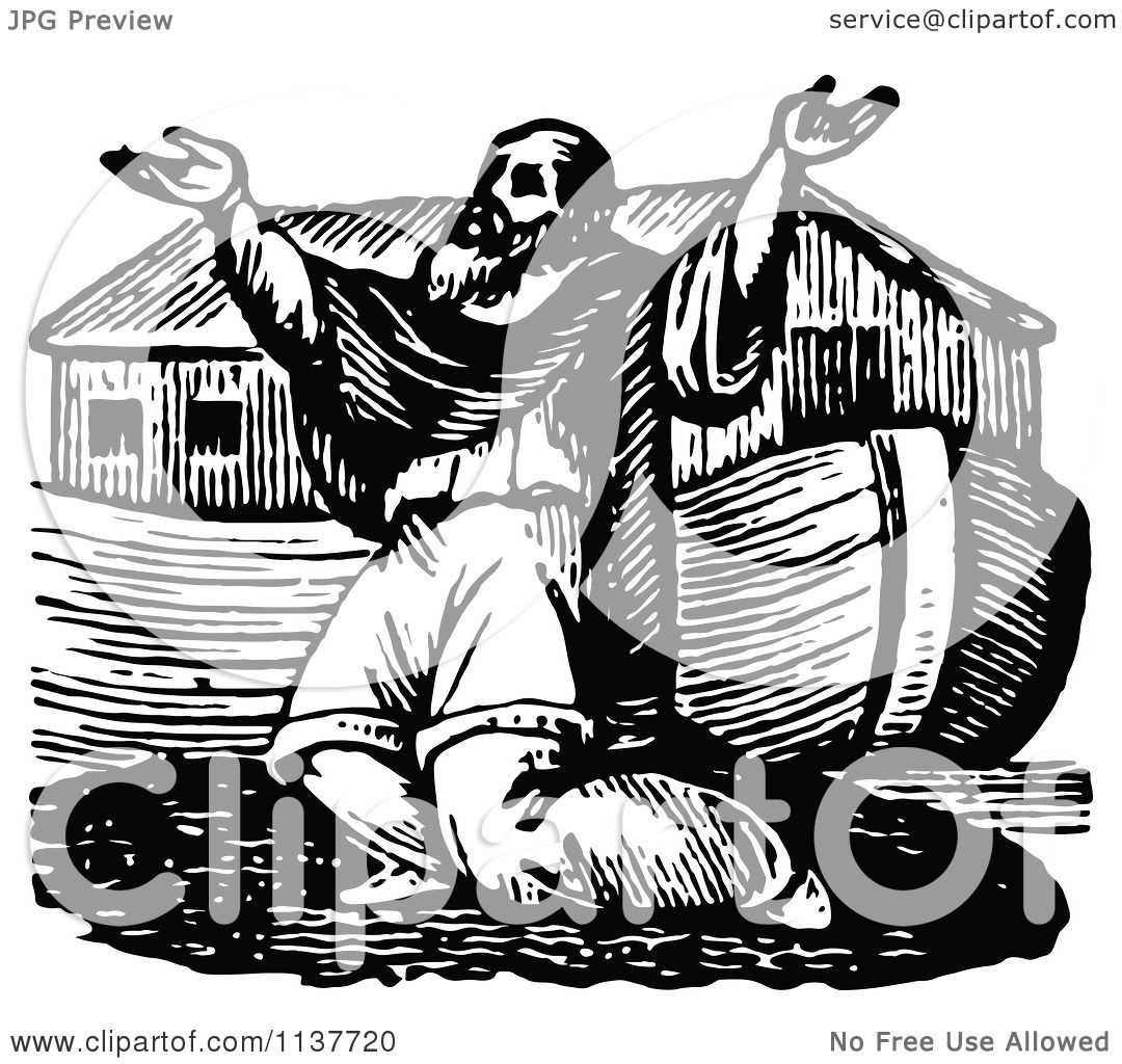 Clipart Of A Retro Vintage Black And White Noah Praying By The Ark.