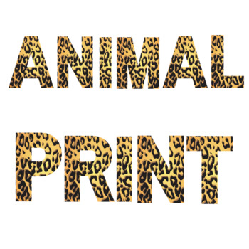Leopard Animal Print Letters and Numbers Font Clip Art.