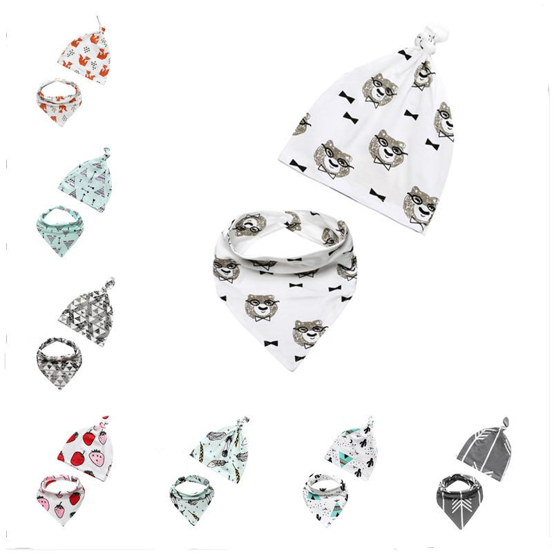 2019 Toddler Supplies Newborns Cotton Bib+Hats Suits For Babies New Fashion  Infants Animal Printed Feeding Scarf Sets 0 3 Years Old From Happywu1314,.