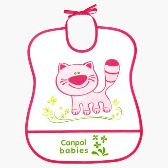 Canpol Babies Happy Animal Cat Print Soft Catch Bib.