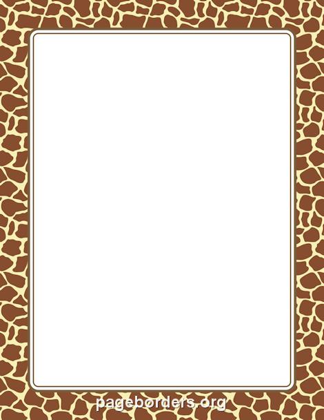 Giraffe Print Border: Clip Art, Page Border, and Vector.