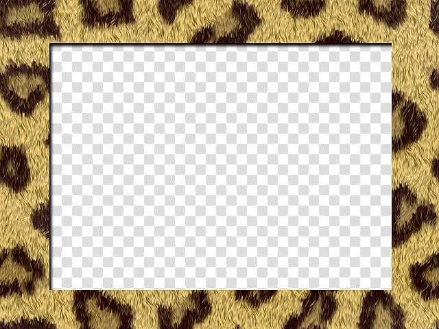 Rectangular leopard print frame transparent background PNG.