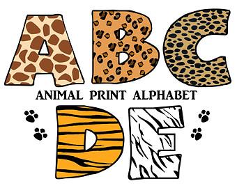 animal print letters clip art #10