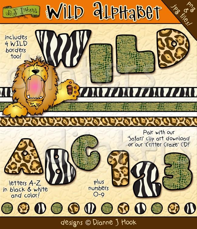 animal print letters clip art #18
