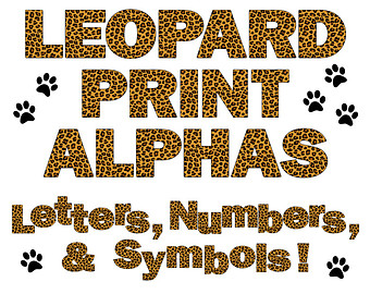 animal print letters clip art #5