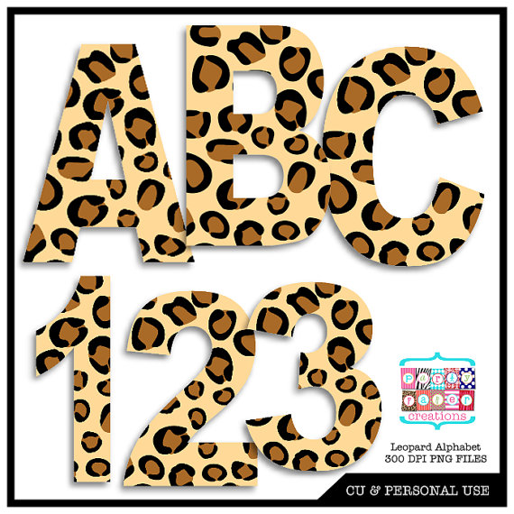 Leopard Animal Print Digital Alphabet and Number Clipart.