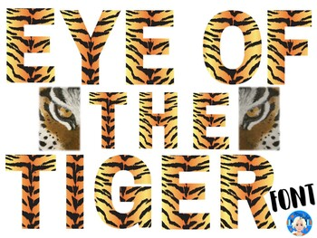 Tiger Animal Print Letters and Numbers Font Clip Art.